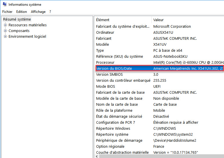 version bios windows 10