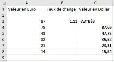 Convertir euro en dollar excel