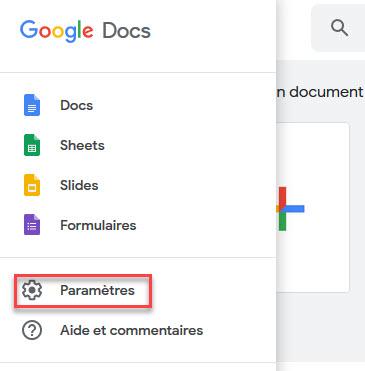 paramètres google docs