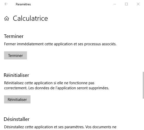Réinitialiser les données de la calculatrice windows 10