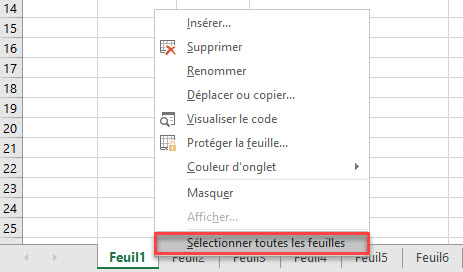 selectionner toutes les feuilles de calcul dans Microsoft Excel