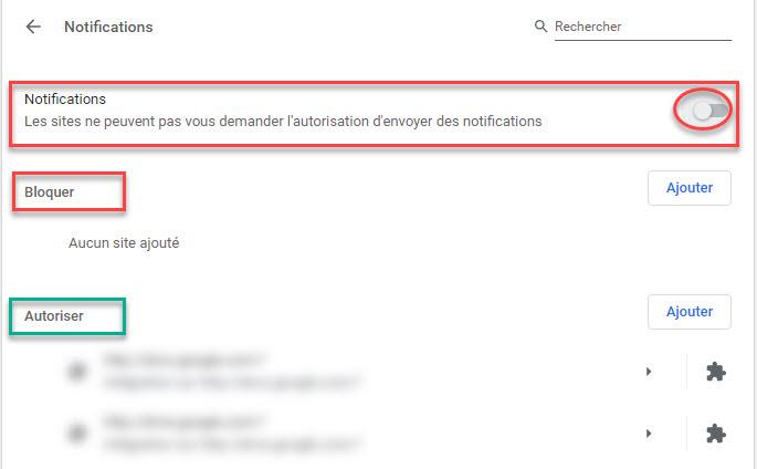 désactiver les notifications dans Chrome