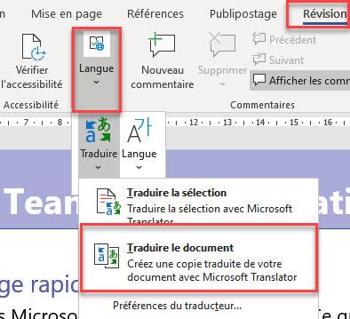 Traduction de fichiers PDF à l'aide de Microsoft Word