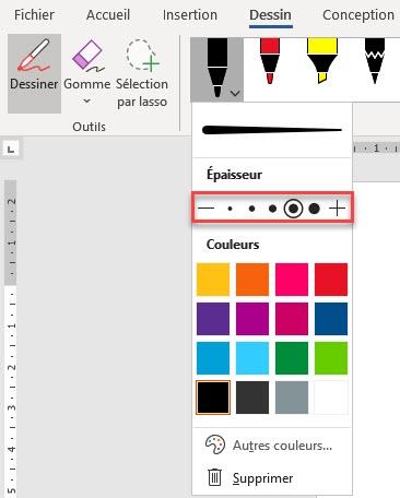 définir l'épaisseur et la couleur de l'outil dessiner