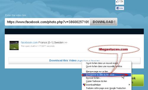 exemple telechargement video facebook