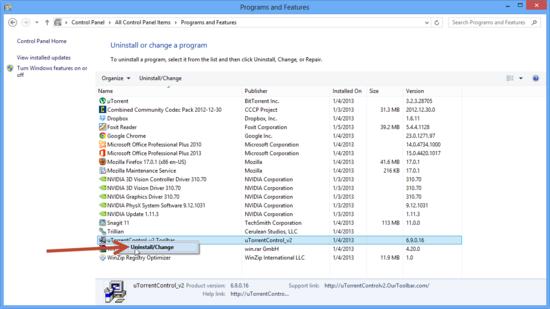 Supprimer logiciel windows 8