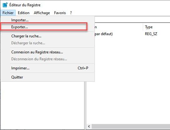 créer une sauvegarde du Registre sur votre ordinateur