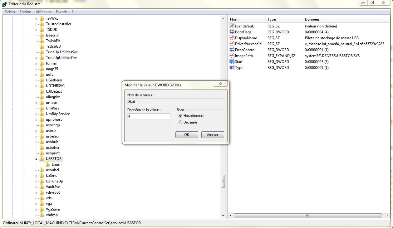 Désactiver les ports USB sur un PC Windows  a l'aide de Registre
