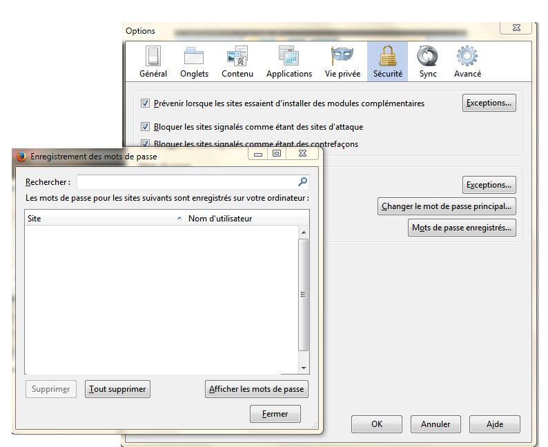 Voir Mots passe enregistrés Mozilla Firefox