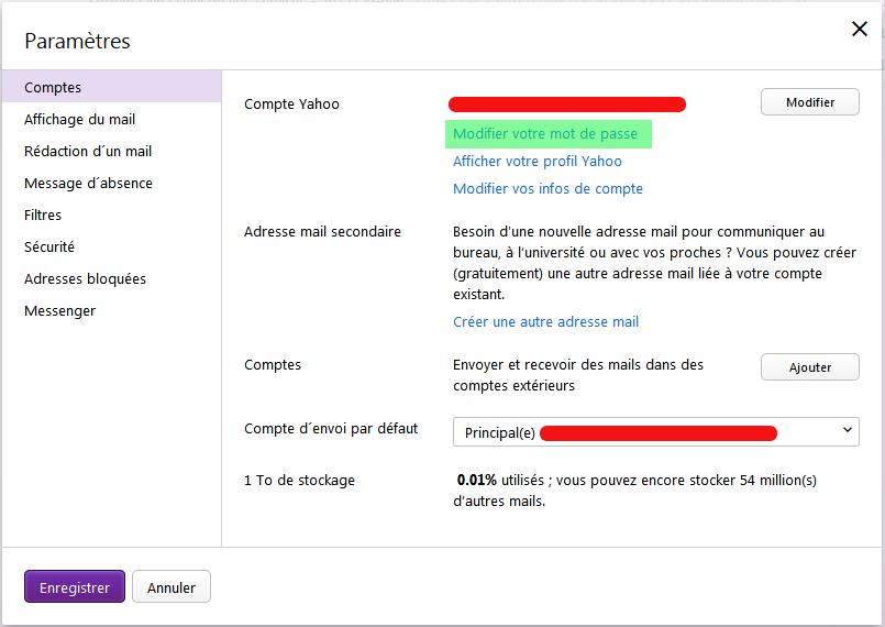 comment changer son mot de passe yahoo mail