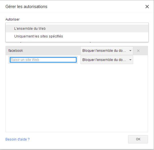bloquer des sites web sous google chrome