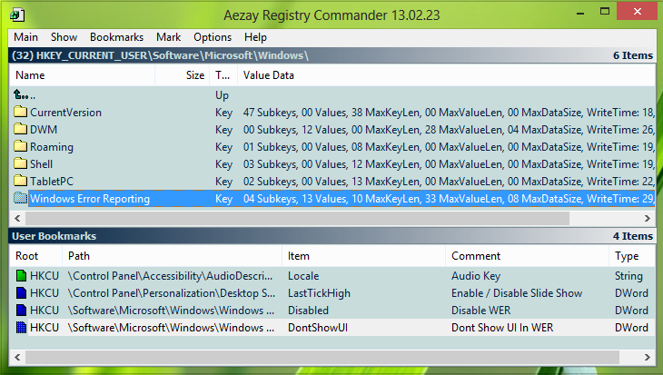 Editeur registre avancé windows 7