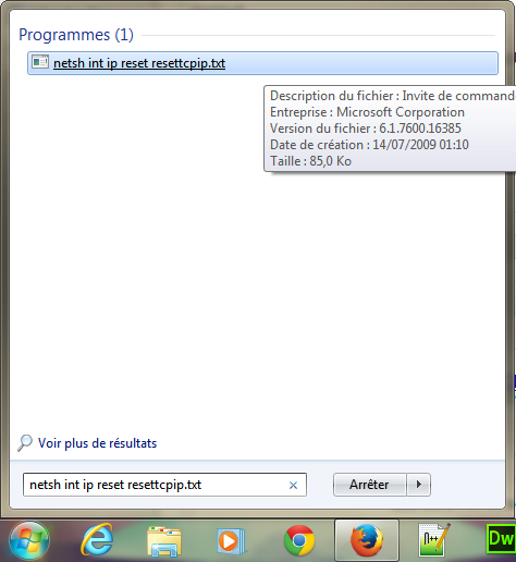 Reinitialiser TCP / IP Windows 8   7