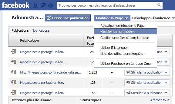 modifier parametres page facebook