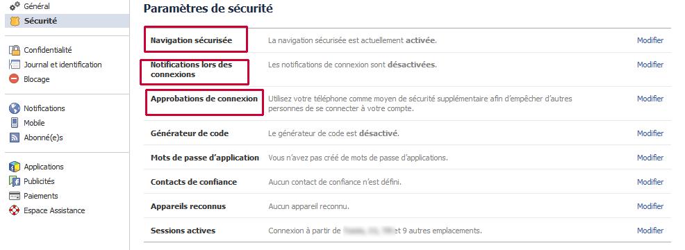 parametre securite facebook