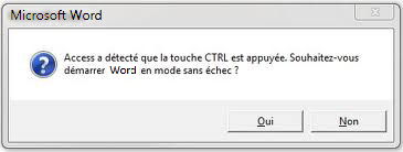 word 2010 mode sans échec