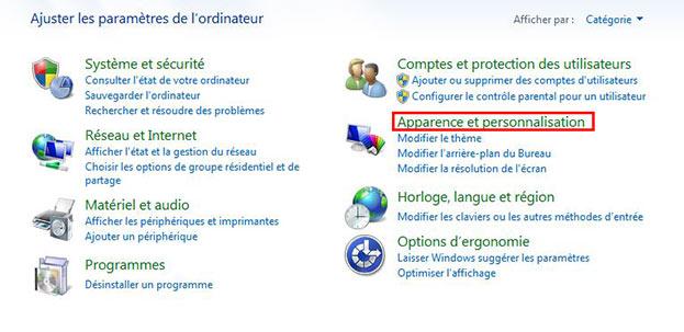 Apparence et personnalisation dans windows 7