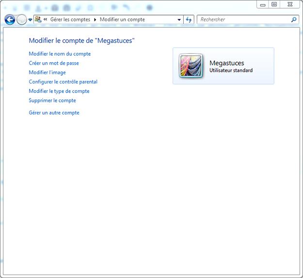 Compte utilisateur Windows 7