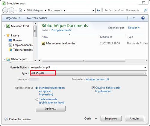 Enregistrement document Excel en PDF