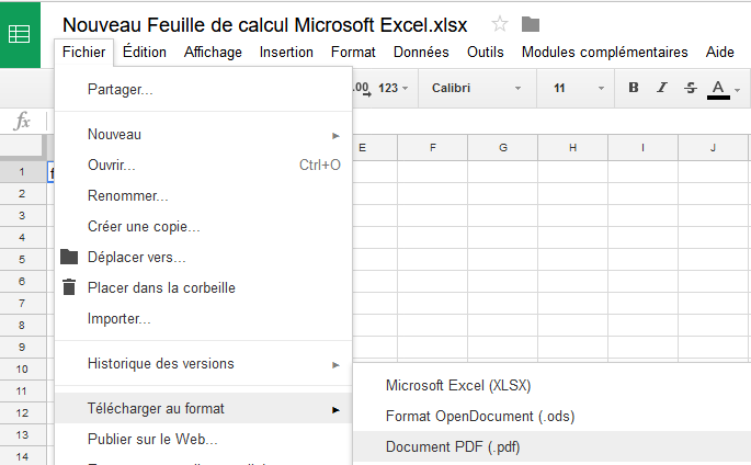 Enregistrer document Excel en PDF
