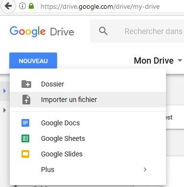 importer fichier excel dans google drive