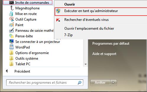 invite de commande windows 7