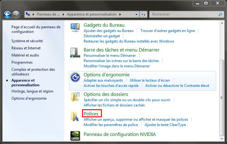polices windows 7