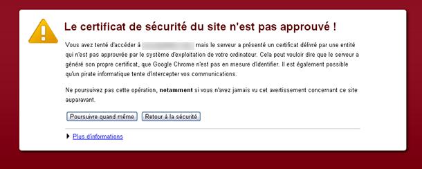 Le certificat de sécurité du site n'est pas encore valide