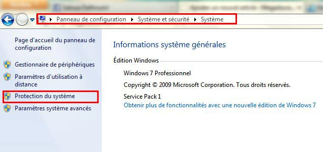 Protection système windows 7