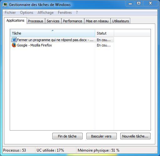 Gestionnaire des tâches de Windows