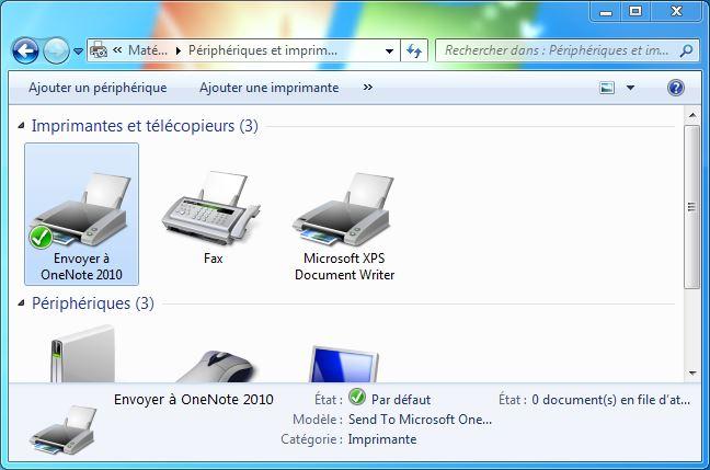 Peripheriques et imprimantes windows 7