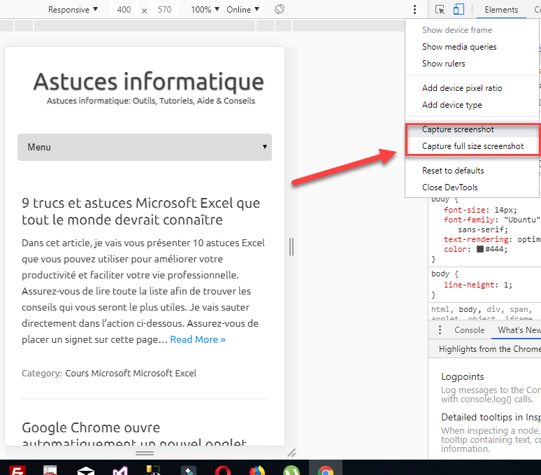 faire capture d'ecran google chrome
