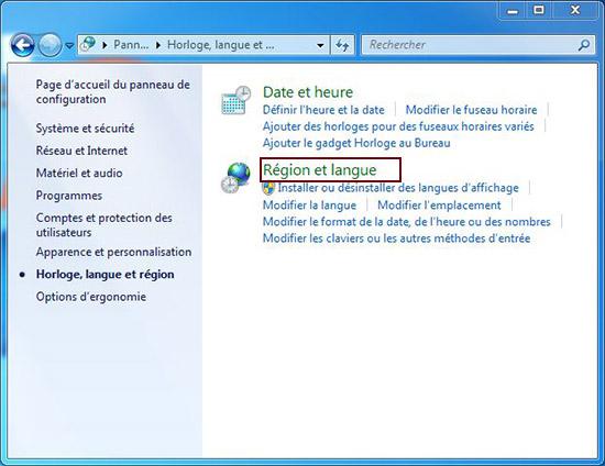 langue et région windows 7