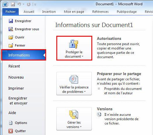 Protéger le document
