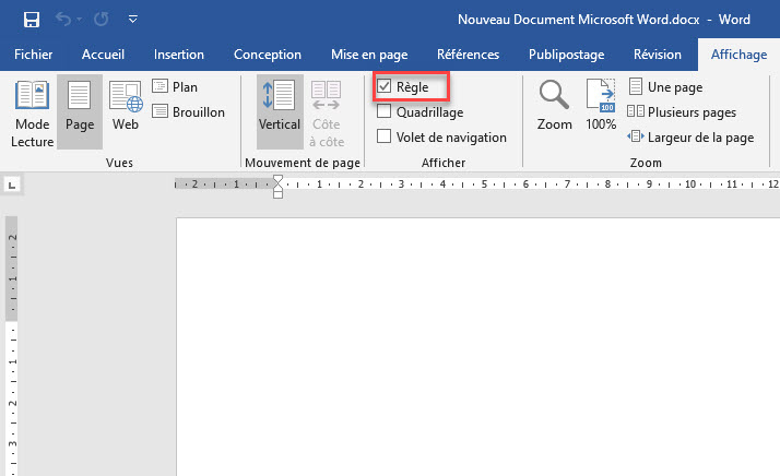 Afficher la règle dans Word: une image d'un utilisateur montrant la règle dans Microsoft Word.