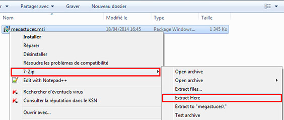 extraire les fichiers msi