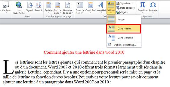 lettrine dans Word 2010