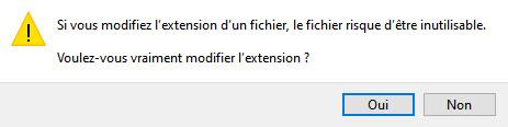 Modifier l'extension de fichier excel
