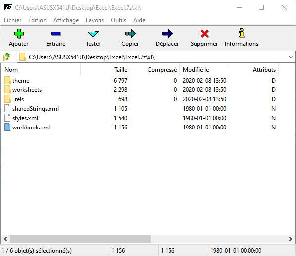 Ouvrir fichier excel dans 7-zip