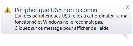 périphérique USB non reconnu windows