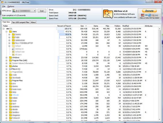 Liste fichiers volumineux
