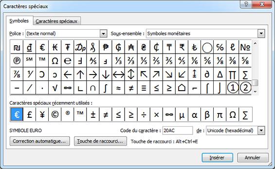 caracteres speciaux - symboles word
