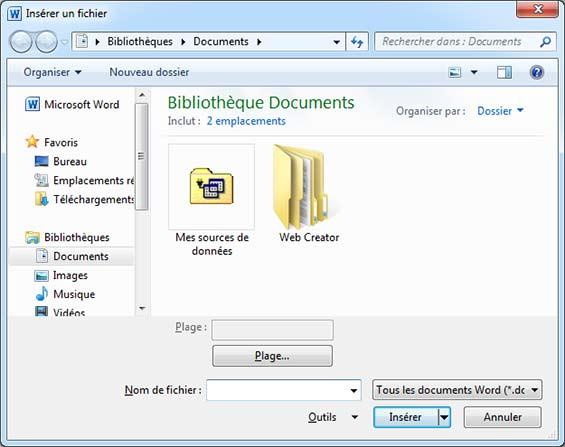Choisir le document à Insérer