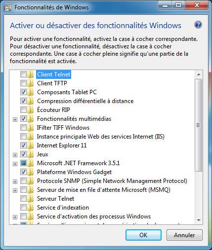 Activer ou désactiver des fonctionnalités Windows