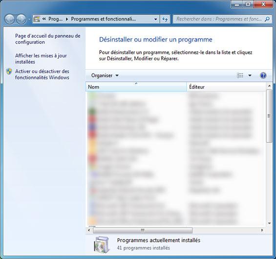 fenêtre Ajouter ou supprimer des programmes