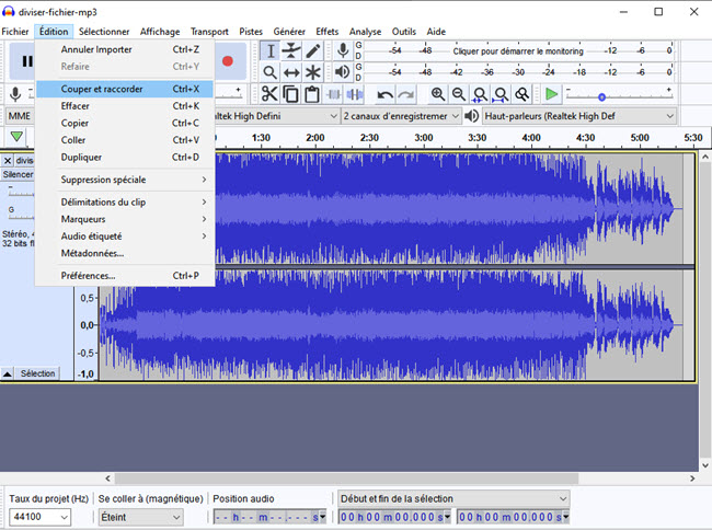 divisier un fichier mp3 dans windows 10