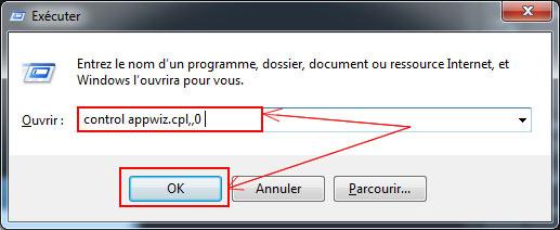commande pour afficher panneau de supression windows