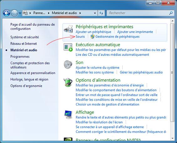 souris panneau configuration windows 7