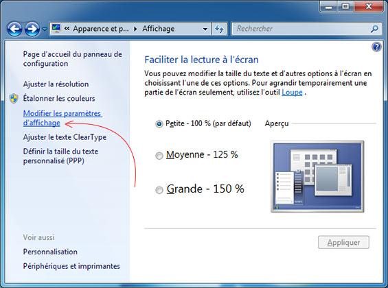 Modifier les paramètres d'affichage windows 7