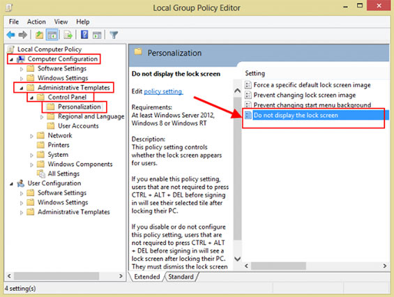 désactiver écran verrouillage Windows 8